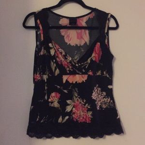 Lace and floral tank top